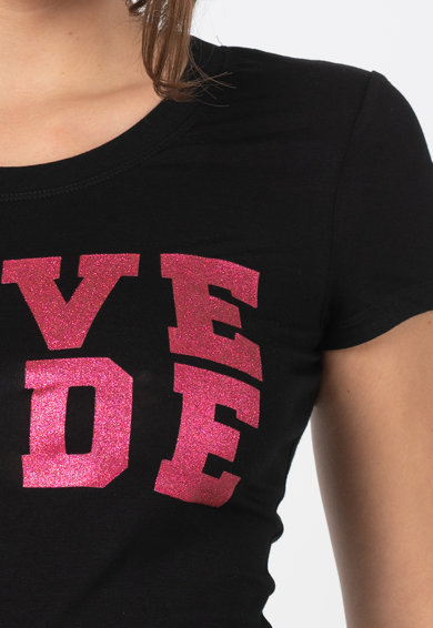 Love Moschino Tricou cu decolteu la baza gatului si imprimeu text Femei