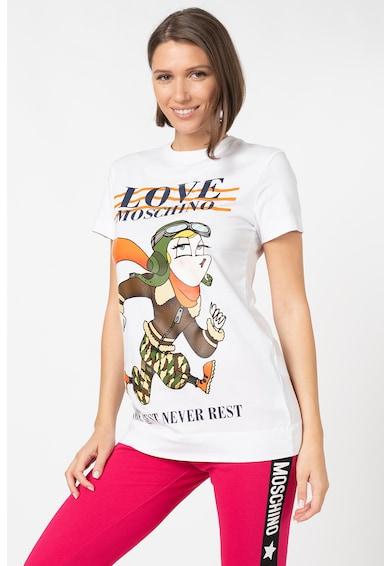 Love Moschino Tricou de bumbac cu imprimeu grafic Femei