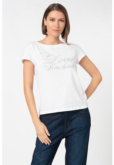 Love Moschino Tricou cu decolteu la baza gatului si strasuri Femei