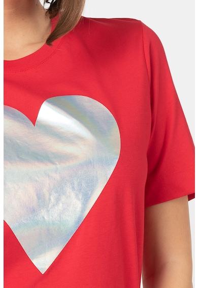 Love Moschino Tricou cu model inima cu aspect stralucitor Femei