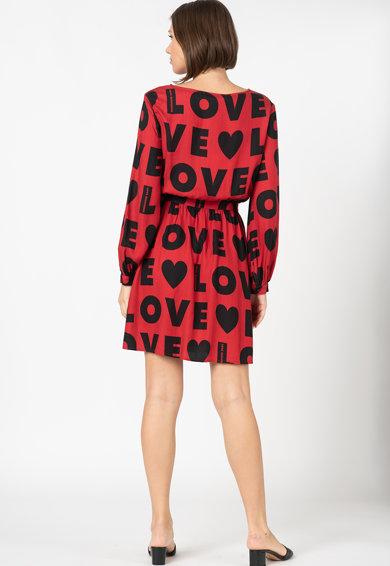 Love Moschino Rochie mini evazata cu model logo Femei