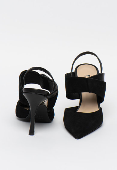 Furla Pantofi slingback de piele si piele intoarsa Fold Femei