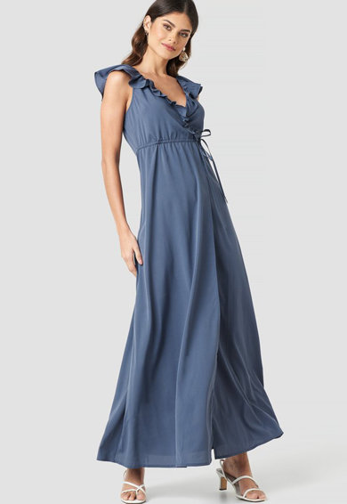 NA-KD Átlapolós ruha fodros részletekkel 1 női