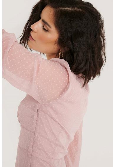 NA-KD V-nyakú szűkített fazonú ruha enyhén áttetsző ujjakkal női
