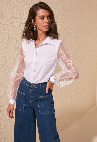 Trendyol Camasa cu maneci transparente Femei