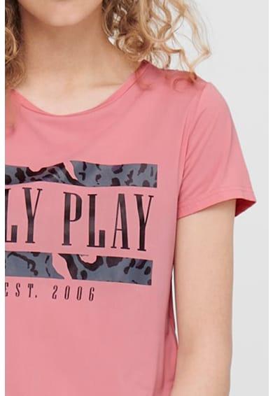 Only Play Tricou cu decolteu la baza gatului si imprimeu text Femei