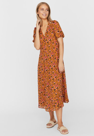 Vero Moda Rochie midi cu decolteu in V si imprimeu floral Femei