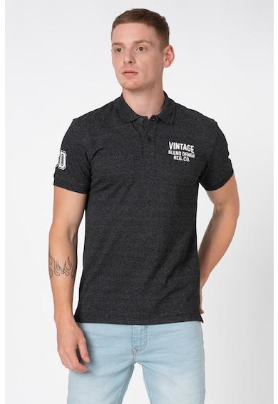 BLEND Galléros póló hímzett logóval férfi