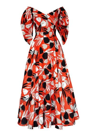Alina Cernatescu Virágmintás bővülő fazonú lentartalmú ruha női