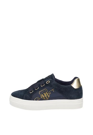 Gant Pantofi sport de piele intoarsa si material textil, cu logo Femei