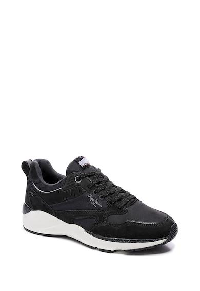 Pepe Jeans London Pantofi sport din piele intoarsa cu insertii din plasa Barbati