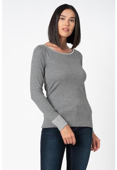 Esprit Bluza din bumbac organic cu decolteu si mansete contrastante Femei