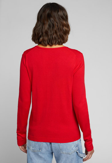 EDC by Esprit Пуловер с органичен памук и шпиц Жени