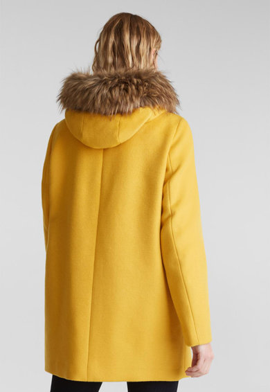 Esprit Palton din amestec de lana, cu gluga si garnitura de blana sintetica Femei
