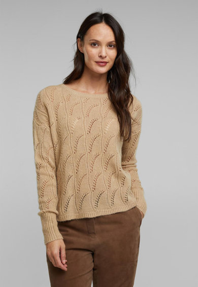 Esprit Pulover din amestec de lana cu perforatii Femei
