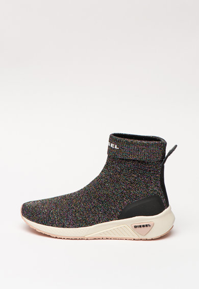 Diesel Pantofi sport slip-on tip soseta cu insertii din fire metalice S-Kby Femei