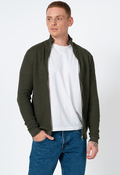 !Solid Cardigan tricotat cu fermoar Barbati