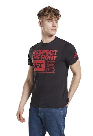Reebok Tricou slim fit cu imprimeu text pentru arte martiale UFC FG Barbati