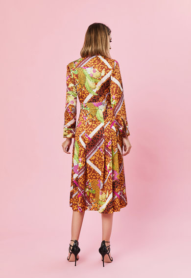 MIAU by Clara Rotescu Selyemtartalmú ruha hajtásokkal női