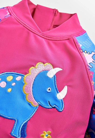 JoJo Maman Bebe Combinezon de baie cu 2 piese, fete, imprimeu dinozauri, Roz/Albastru Fete