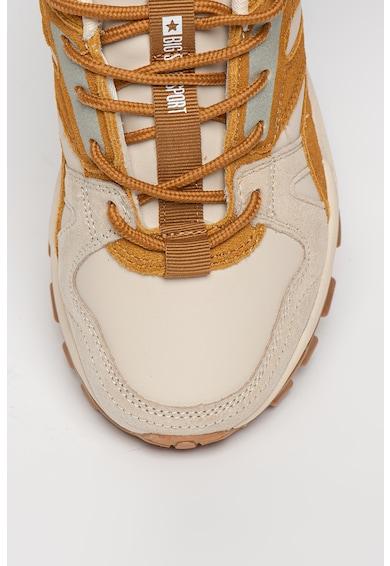 Big Star Pantofi sport de piele ecologica cu garnituri de piele intoarsa si plasa Femei