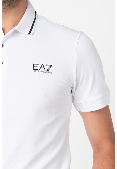 EA7 Tricou polo din bumbac cu material pique Barbati