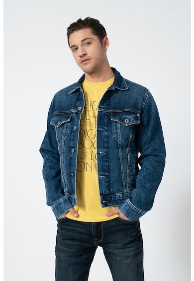 Pepe Jeans London Jacheta din denim cu buzunare pe piept Barbati