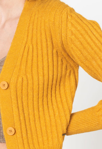 Pepe Jeans London Sol bordázott hatású V-nyakú kardigán női