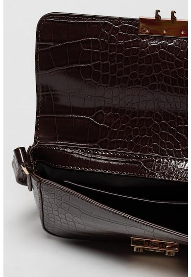 Emporio Armani Geanta de piele ecologica cu bareta de umar si aspect de piele de crocodil Femei