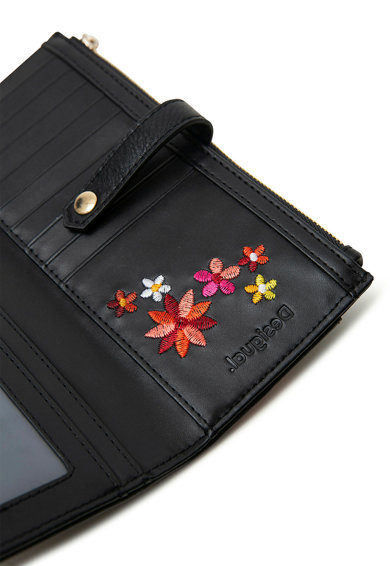 DESIGUAL Portofel de piele ecologica, cu broderii florale Concordia Pia Femei