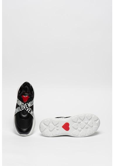 Love Moschino Pantofi sport slip-on cu talpa wedge si insertii din piele Femei