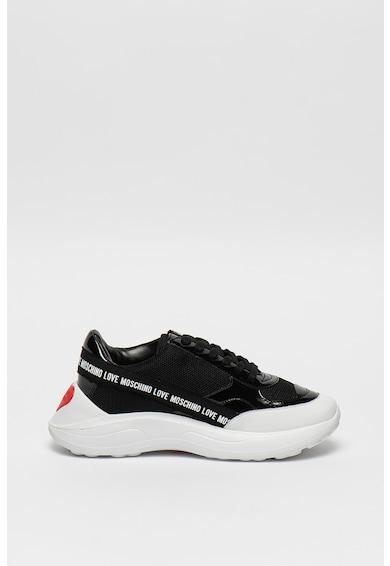Love Moschino Pantofi sport din piele lacuita cu talpa wedge Femei