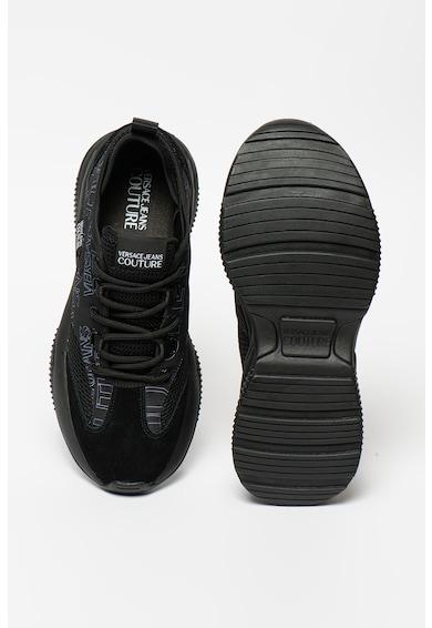 Versace Jeans Couture Pantofi sport cu talpa wedge si insertii din piele intoarsa Barbati