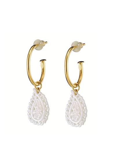 OXETTE 18 karátos aranybevonatú csepp formájú fülbevaló gyöngyház részletekkel női