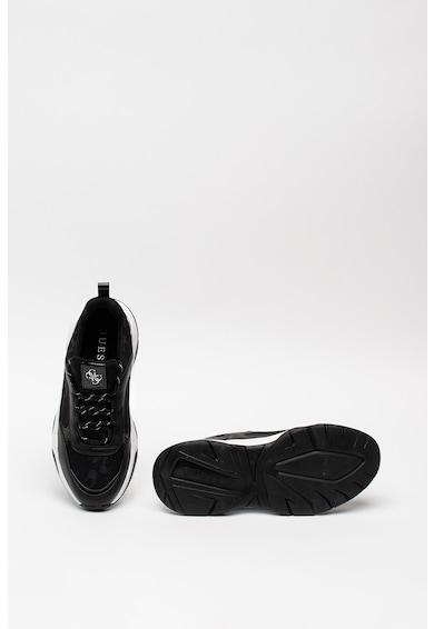 Guess Bebújós műbőr sneaker textilbetétekkel női