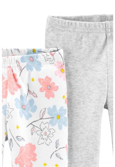 Carter's Set de 2 perechi de pantaloni din bumbac organic, Gri deschis melange/Alb/Roz Fete
