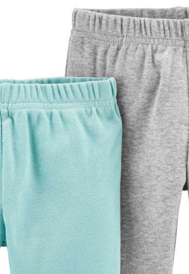 Carter's Set de pantaloni sport din bumbac organic cu terminatii striate - 2 perechi, Gri melange/Albastru pastel Baieti