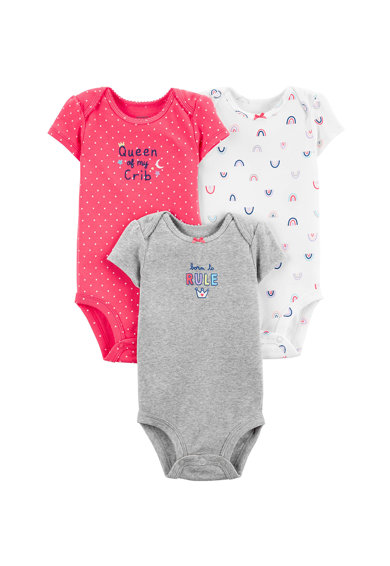 Carter's Set de 3 body-uri cu model text si grafic Fete