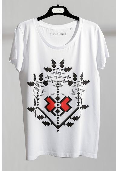 ALISIA ENCO Tricou de bumbac organic, cu imprimeu traditional Femei