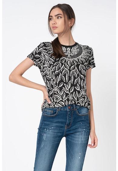 DESIGUAL Bluza cu maneci scurte si imprimeu floral Femei