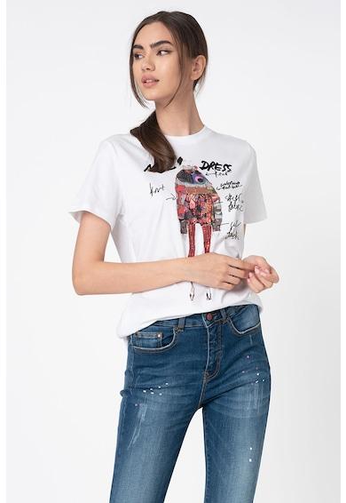 DESIGUAL Tricou din bumbac cu imprimeu si aplicatii din paiete Femei
