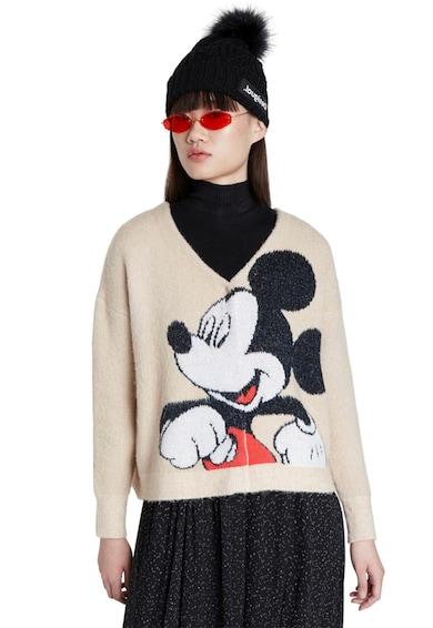 DESIGUAL V-nyakú pulóver Mickey egeres mintával női