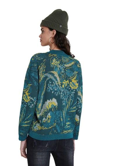DESIGUAL Finomkötött trópusi mintás pulóver női