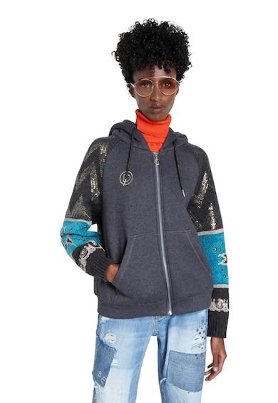 DESIGUAL Kapucnis pulóver flitterekkel az ujjain női