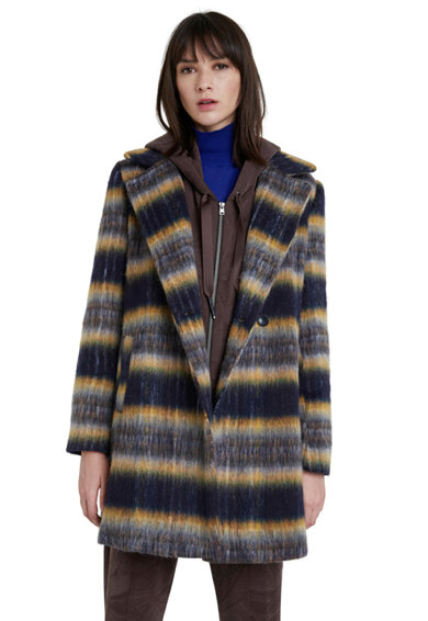 DESIGUAL Gyapjútartalmú kabát nagyméretű hajtókás gallérral női