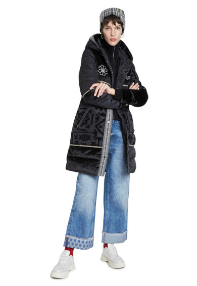 DESIGUAL Télikabát bársony mandalamintával női