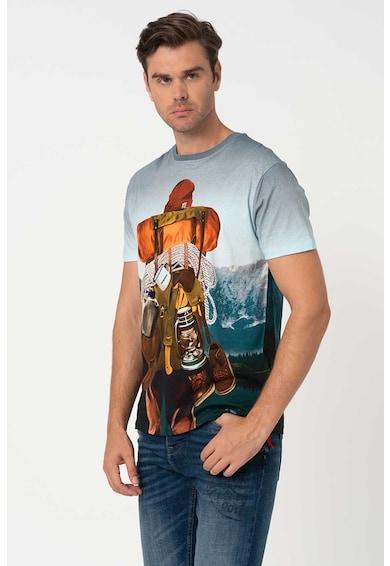 DESIGUAL Tricou cu decolteu la baza gatului si imprimeu grafic Blas Barbati