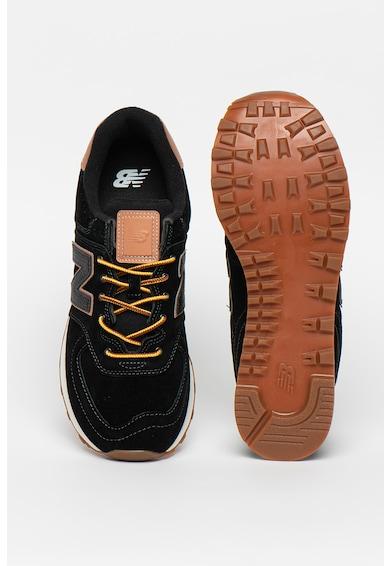 New Balance 574 nyersbőr sneaker logórátéttel férfi