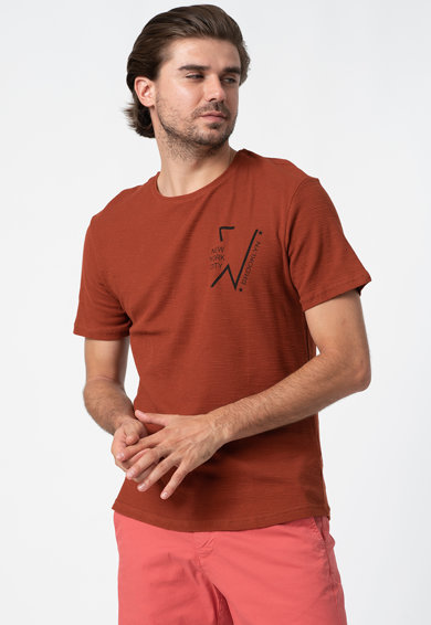 Trendyol Tricou cu decolteu la baza gatului si imprimeu text discret Barbati