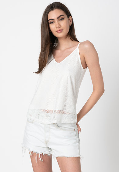 Trendyol Top cu strat exterior de dantela Beyaz Femei